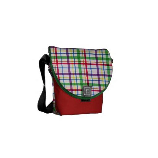 5305_plaid-11-bright COLOURFUL PLAID PATTERN TINY Messenger Bags