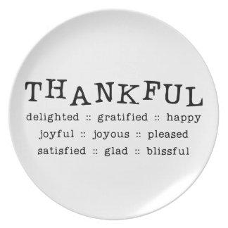 5318__thankful__ THANKFUL DELIGHTED GRATIFIED HAPP Dinner Plates