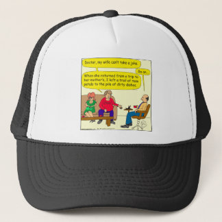 536 dirty dishes cartoon trucker hat