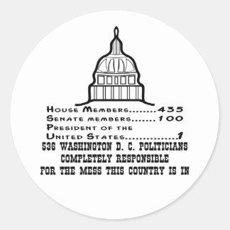 536 políticos del Washington DC son responsables Pegatina Redonda