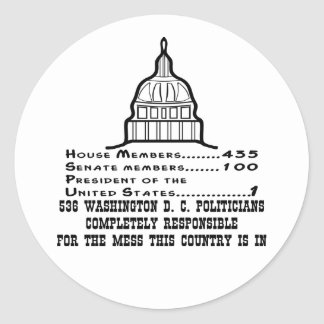 536 Washington DC Politicians Are Responsible Classic Round Sticker