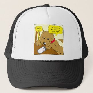 537 whos a good boy cartoon trucker hat