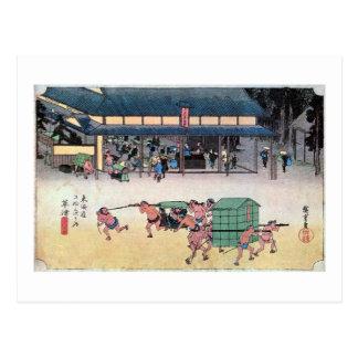 53. 草津宿, 広重 Kusatsu-juku, Hiroshige, Ukiyo-e Postal