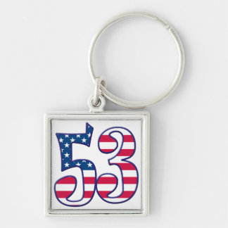 53 Age USA Silver-Colored Square Keychain