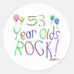 ¡53 años de la roca! pegatina redonda