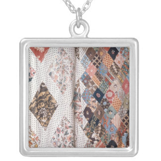 53:Detail of a patchwork quilt made by Mrs Square Pendant Necklace