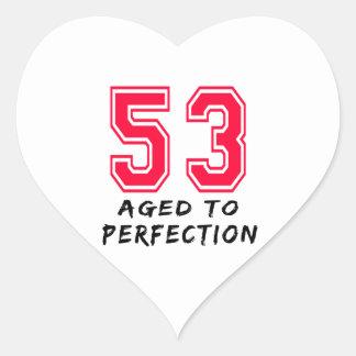 53 envejeció al diseño del cumpleaños de la pegatina corazon personalizadas