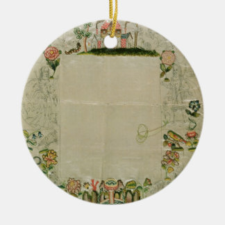 53:Mirror frame, unfinished embroidery in coloured Ceramic Ornament
