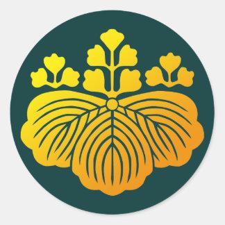 53 paulownia crest classic round sticker