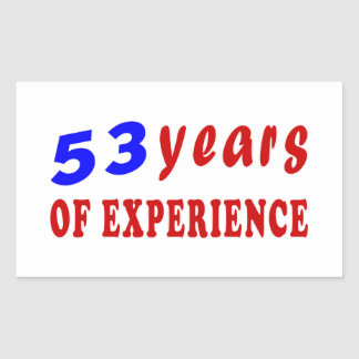 53 years of experience rectangle stickers