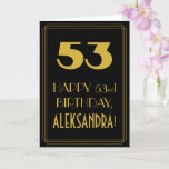 "[ Thumbnail: 53rd Birthday ~ Art Deco Inspired Look ""53"" & Name Card ]"