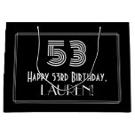 "[ Thumbnail: 53rd Birthday — Art Deco Inspired Look ""53"" & Name Gift Bag ]"