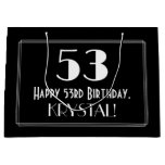 "[ Thumbnail: 53rd Birthday: Art Deco Inspired Style ""53"", Name Gift Bag ]"