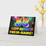 [ Thumbnail: 53rd Birthday: Bold, Fun, Fireworks, Rainbow 53 Card ]