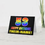 [ Thumbnail: 53rd Birthday: Bold, Fun, Simple, Rainbow 53 Card ]