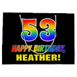 [ Thumbnail: 53rd Birthday: Bold, Fun, Simple, Rainbow 53 Gift Bag ]