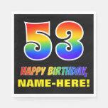[ Thumbnail: 53rd Birthday: Bold, Fun, Simple, Rainbow 53 Napkins ]