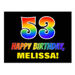 [ Thumbnail: 53rd Birthday: Bold, Fun, Simple, Rainbow 53 Postcard ]