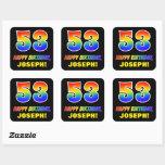 [ Thumbnail: 53rd Birthday: Bold, Fun, Simple, Rainbow 53 Sticker ]