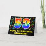 [ Thumbnail: 53rd Birthday: Colorful Music Symbols & Rainbow 53 Card ]