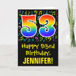 [ Thumbnail: 53rd Birthday: Colorful Music Symbols + Rainbow 53 Card ]