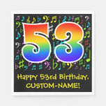 [ Thumbnail: 53rd Birthday - Colorful Music Symbols, Rainbow 53 Napkins ]