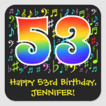 [ Thumbnail: 53rd Birthday: Colorful Music Symbols, Rainbow 53 Sticker ]