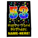 [ Thumbnail: 53rd Birthday: Colorful Stars Pattern & Rainbow 53 Gift Bag ]