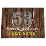 [ Thumbnail: 53rd Birthday: Country Western Inspired Look, Name Gift Bag ]