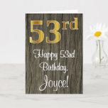 [ Thumbnail: 53rd Birthday: Elegant Faux Gold Look #, Faux Wood Card ]