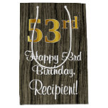 [ Thumbnail: 53rd Birthday: Elegant Faux Gold Look #, Faux Wood Gift Bag ]