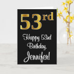 [ Thumbnail: 53rd Birthday ~ Elegant Luxurious Faux Gold Look # Card ]