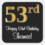 [ Thumbnail: 53rd Birthday – Elegant Luxurious Faux Gold Look # Sticker ]