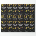 [ Thumbnail: 53rd Birthday: Elegant Luxurious Faux Gold Look # Wrapping Paper ]