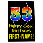 "[ Thumbnail: 53rd Birthday: Fun, Bold, Colorful, Rainbow ""53"" Gift Bag ]"