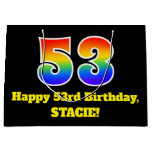 [ Thumbnail: 53rd Birthday ~ Fun, Colorful, Vibrant, Rainbow 53 Gift Bag ]