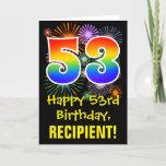 [ Thumbnail: 53rd Birthday: Fun Fireworks Pattern + Rainbow 53 Card ]