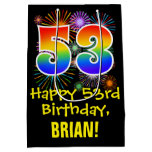 [ Thumbnail: 53rd Birthday: Fun Fireworks Pattern + Rainbow 53 Gift Bag ]