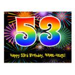 [ Thumbnail: 53rd Birthday – Fun Fireworks Pattern + Rainbow 53 Postcard ]