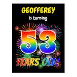 "[ Thumbnail: 53rd Birthday - Fun Fireworks, Rainbow Look ""53"" Postcard ]"
