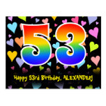 [ Thumbnail: 53rd Birthday: Fun Hearts Pattern, Rainbow 53 Postcard ]