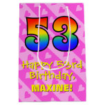 [ Thumbnail: 53rd Birthday: Fun Pink Hearts Stripes; Rainbow 53 Gift Bag ]