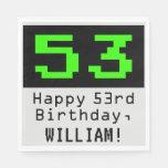 """[ Thumbnail: 53rd Birthday - Nerdy / Geeky Style """"53"""" & Name Napkins ]"""
