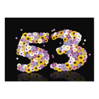 53rd Birthday party, with flowered letters Card