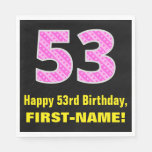 "[ Thumbnail: 53rd Birthday: Pink Stripes and Hearts ""53"" + Name Napkins ]"
