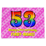 [ Thumbnail: 53rd Birthday: Pink Stripes & Hearts, Rainbow # 53 Gift Bag ]