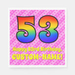 [ Thumbnail: 53rd Birthday: Pink Stripes & Hearts, Rainbow # 53 Napkins ]