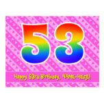 [ Thumbnail: 53rd Birthday: Pink Stripes & Hearts, Rainbow 53 Postcard ]