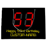 "[ Thumbnail: 53rd Birthday: Red Digital Clock Style ""53"" + Name Gift Bag ]"