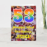 "[ Thumbnail: 53rd Birthday; Rustic Autumn Leaves; Rainbow ""53"" Card ]"